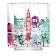 Watercolor Skyline Of Columbus, Ohio Shower Curtain