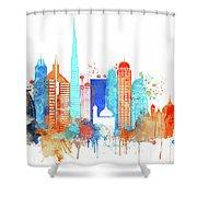 Watercolor Skyline Of Dubai Shower Curtain
