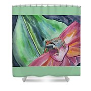 Watercolor - Small Tree Frog On A Colorful Flower Shower Curtain