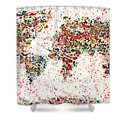 Watercolor Splashes World Map 2 Shower Curtain