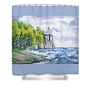 Watercolor - Split Rock Lighthouse Shower Curtain