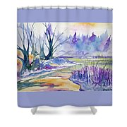 Watercolor - Stream And Forest Shower Curtain