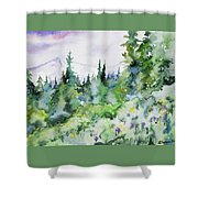 Watercolor - Summer In The Rockies Shower Curtain