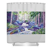 Watercolor - Summer Mountain Forest And Stream Shower Curtain