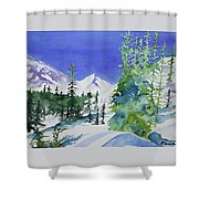 Watercolor - Sunny Winter Day In The Mountains Shower Curtain