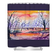 Watercolor - Sunrise At The Pond Shower Curtain
