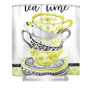 Watercolor Teacups-c Shower Curtain