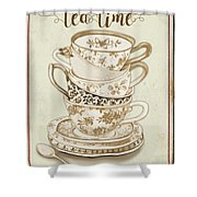 Watercolor Teacups-e Shower Curtain