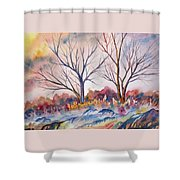 Watercolor - Trees And Woodland Meadow Shower Curtain