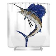 Watercolor Tribal Sailfish Shower Curtain