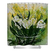 Watercolor Tulips Shower Curtain