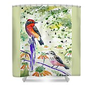 Watercolor - Vermilion Flycatcher Pair In Quito Shower Curtain
