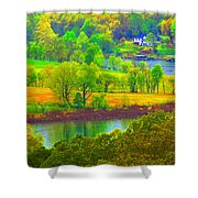 Watercolor View Shower Curtain