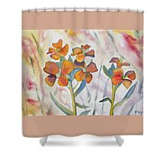 Watercolor - Wallflower Wildflowers Shower Curtain
