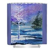 Watercolor - Winter Aspen Shower Curtain