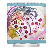 Watercolor - Winter Berry Abstract Shower Curtain