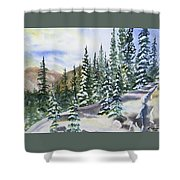 Watercolor - Winter Snow-covered Landscape Shower Curtain