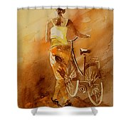 Watercolor With My Bike Shower Curtain by Pol Ledent