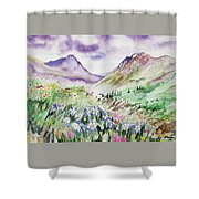 Watercolor - Yankee Boy Basin Landscape Shower Curtain