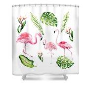 Watercolour Flamingo Family Shower Curtain