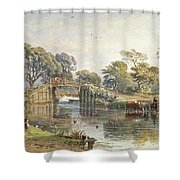 Watercolour Heightened With White Shower Curtain