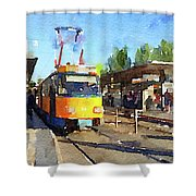 Watercolour Painting Of A Tram In Germany Shower Curtain