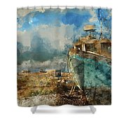 Watercolour Painting Of Abandoned Fishing Boat On Beach Landscap Shower Curtain