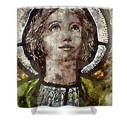 Watercolour Painting Of Stained Glass Religious Window In Church Shower Curtain