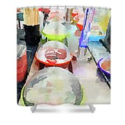 Watercolour Painting Of Sushi Dishes On The Belt Shower Curtain