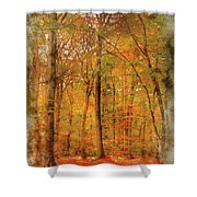 Watercolour Painting Of Vibrant Autumn Fall Forest Landscape Ima Shower Curtain