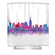 Watercolour Splashes New York City Skylines Shower Curtain