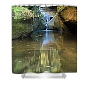 Waterfall And Reflection Shower Curtain