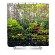 Waterfall At Lower Pond In Japanese Garden Shower Curtain