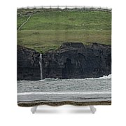 Waterfall At The Cliffs Of Moher Shower Curtain