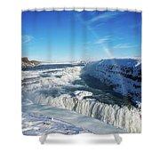 Waterfall Gullfoss In Winter Iceland Europe Shower Curtain