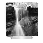 Waterfall In Nh Black And White Shower Curtain