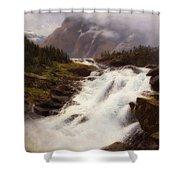 Waterfall In Norweigian Mountain Landscape Shower Curtain