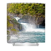 Waterfall In Vicente Perez Rosales National Park Near Puerto Montt-chile  Shower Curtain