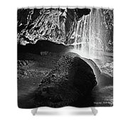 Waterfall Of The Caverns Black And White Shower Curtain