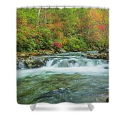 Waterfall On Little Pigeon River Smoky Mountains Shower Curtain