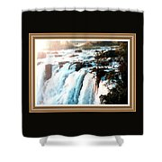 Waterfall Scene For Mia Parker - Sutcliffe L A S With Decorative Ornate Printed Frame.  Shower Curtain