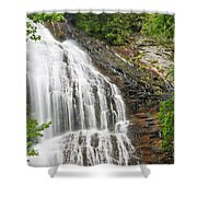 Waterfall With Green Leaves Shower Curtain