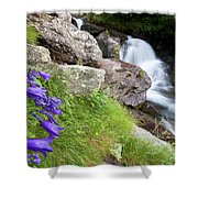 Waterfalls And Bluebells Shower Curtain