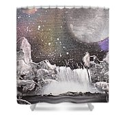Waterfalls At Night Shower Curtain
