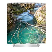 Waterfalls In The Nature Reserve Urederra Shower Curtain