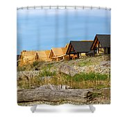 Waterfront Condominiums On The Beach Of Semiahmoo Bay Shower Curtain