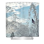 Waterfront Fountain Shower Curtain