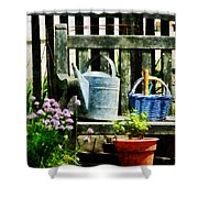 Watering Can And Blue Basket Shower Curtain