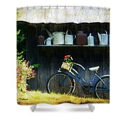 Watering Cans And Gerbera Daisies Shower Curtain by Stephanie Calhoun