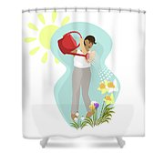 Watering Plants Shower Curtain